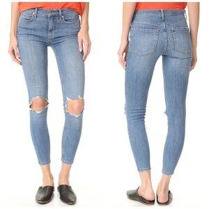 Free People Busted Knee Skinny Jeans in Ocean Blue